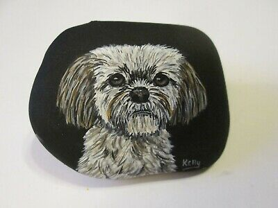 Shih-Tzu Portrait hand painted on a rock Ann Kelly