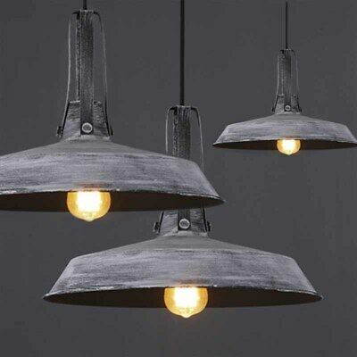 Industrial Vintage Grey Metal Easy Fit Ceiling Kitchen Pendant Light + LED Bulb