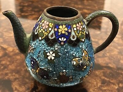 Antique Oriental Asian Enamel On Copper Teapot