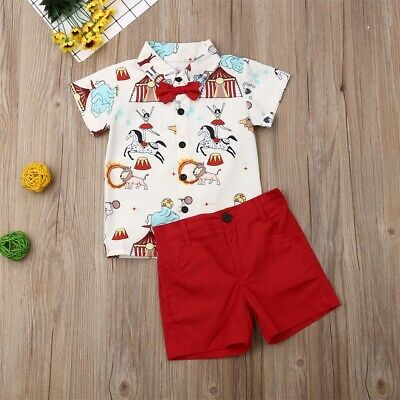 AU Infant Kids Baby Boy Clothes Printed T Shirt Tops & Shorts Pants Outfits Set