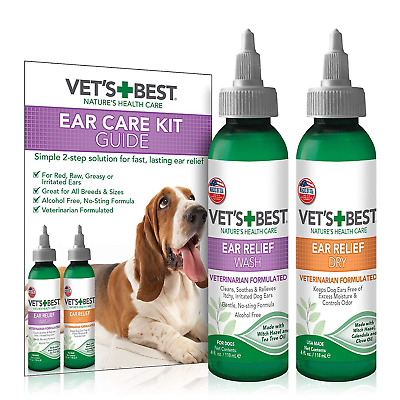 Vets Best Ear Relief Wash and Dry Cleaner Kit for Dogs