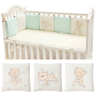 6Pcs/Lot Protector Crib Bumper Pads Baby Bed Cot Safety Cotton Blend Set Rail