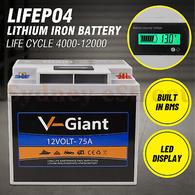 12V 75ah Lithium Iron LiFePo4 Deep Cycle recharge Battery Solar 4WD Caravan RV