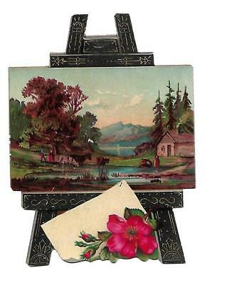 Painting Easel Lake Cabin Mountains Diecut No Advertising Vict Card c1880s