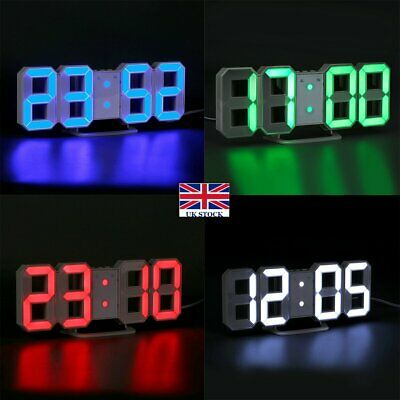 USB LED Digital Table Wall Clock Large 3D Display Alarm Clock Brightness Dimmer