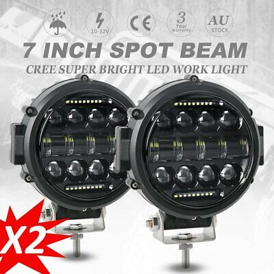2X 7 Inch Round LED Work Light Spot Lamp DRL Driving Headlight Offroad 4WD UTE