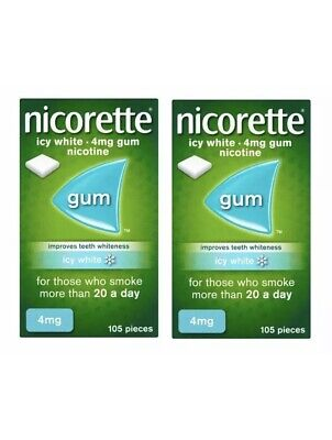 NICORETTE NP Icy White Flavour 4mg 2 Pack Of 105 Gum - 210 Pieces EX 03/2022