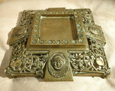 Antique Rococo Pierced Brass Display Stand Cameo Cartouche for Inkwell Clock etc