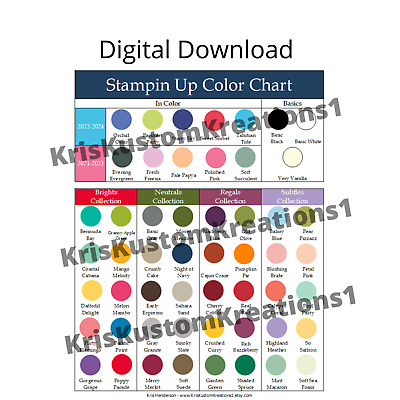 Stampin Up Paper Cardstock Tool Laminated Color Reference 1 Page Chart Inventory