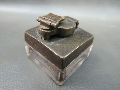 Antique travelling brass and glass lock down inkwell for writing slope box
