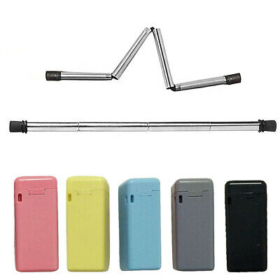 Reusable Collapsible Silicone Stainless Steel Drinking Straw with Cleaner Case
