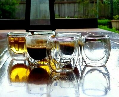 SET OF 6 high quality 80ml Double Wall Glass Coffee Espresso Shot or Tea Cup