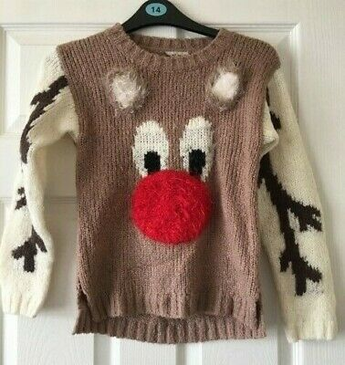 Girls Next Brown Cream Winter Christmas Jumper Rudolf Reindeer Age 9 Years B45