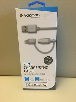 goodmans 3 in 1 charge sync cable 3m