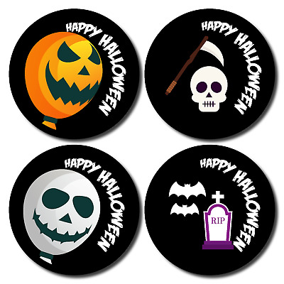 144 x Halloween Stickers Trick or Treat gift kids parties BLACK theme