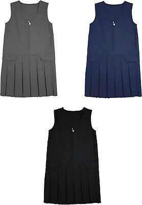 Girl Front Zip 2 Button Box Pleat Pinafore Uniform School Dress Navy,Grey,Black