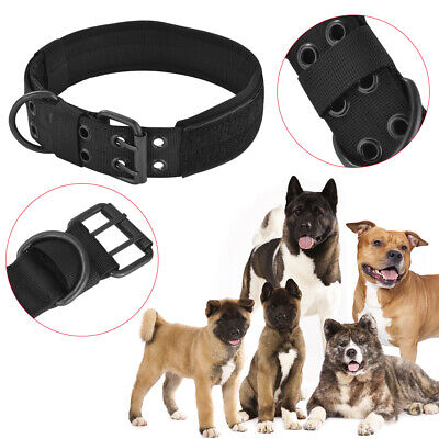 Adjustable Nylon Dog Collar with Metal D-ring Buckle for Large Dogs Black PS323