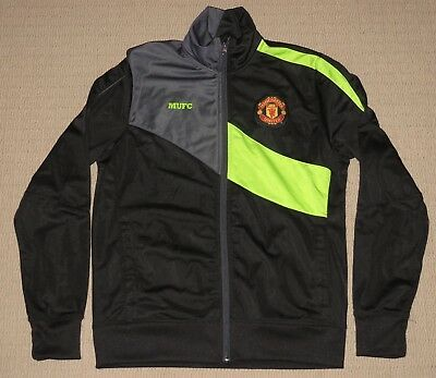 MUFC Manchester United Football Club Zip Track Jacket Small Soccer Futbol Black