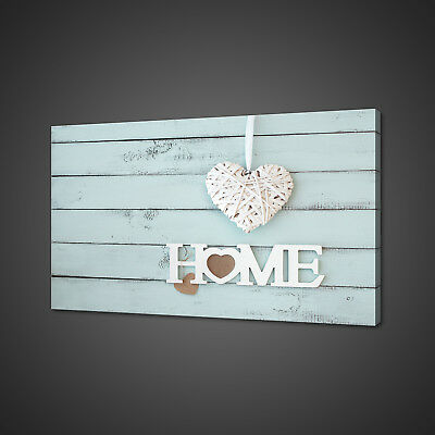 Vintage Shabby Chic Home Sign Heart Canvas Print Wall Art Picture Photo