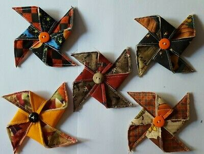 Primitive Fall/Halloween Pinwheel Bowl Fillers/Ornies/Accents 5pcs