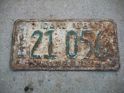1958  RARE Solid  Nice Dated Boise,Idaho 1A Ada County License Plate.