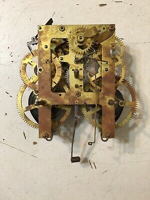 Antique Ingraham Dew Drop Style Wall Clock Time & Strike Movement Parts