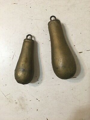 Antique Pair Of Iron Pear Shaped Clock Weights