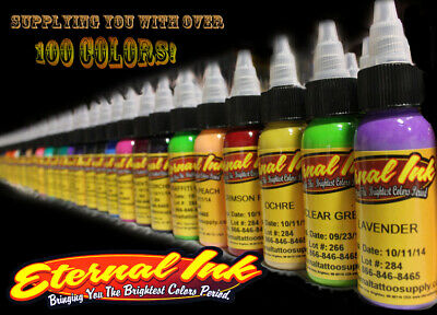ETERNAL INK  TATTOO INK - OFFICIAL DISTRIBUTOR - ALL COLOURS - COLORS - 1oz,