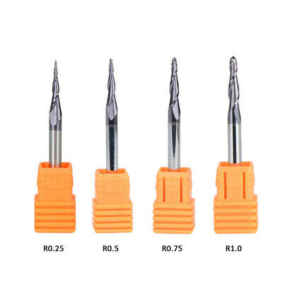 4x HRC55 Tapered Ball Nose End Mill Kit 2 Flutes CNC Router Carving Bits Tool