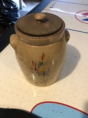 Rare Tole Hand Painted Antique Vintage Pa Dutch Area Unmarked Crock With Lid