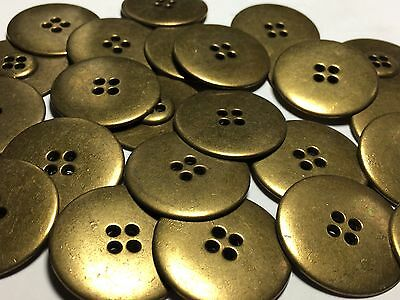 """13 LARGE DISC SHAPE Metal Buttons Antique Brass Finish 1 1/4"""" From Italy"""