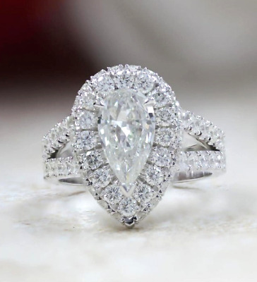 1.7Ct Pear Cut Moissanite Unique double Halo Engagement Ring 14K White Gold Over