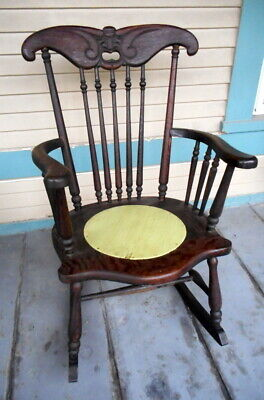 Antique Hand Carved Mahogany OLD MAN WINTER/ MYAN MAN Rocking Chair