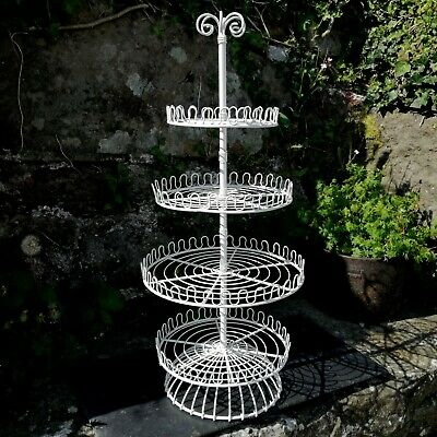 Cake Stand Tiered Vintage Style Painted Metal Display 4 Tier Carousel