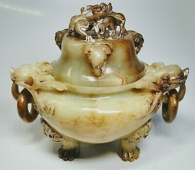 Antique 1920s Chinese Hand-Carved Jade Jar With Dragons and Elephants