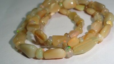 """55 Cts Natural Ethiopian Opal Welo Fire Loose Gemstone Beads 16"""" Inch 0169"""