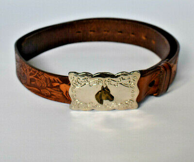 Wrangler Tooled Brown Leather Belt Horses Western Cowboy Silver Buckle 30