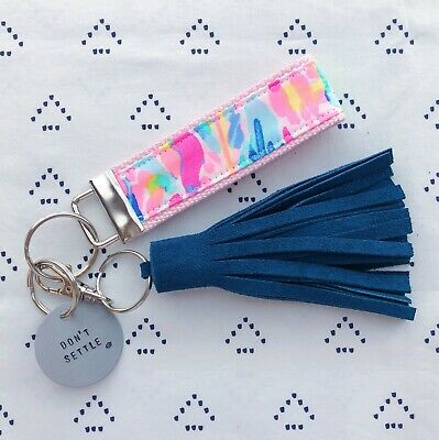 """Lilly Pulitzer Catch The Wave Key Fob Wristlet (1.25"""" width, 9"""" length)"""