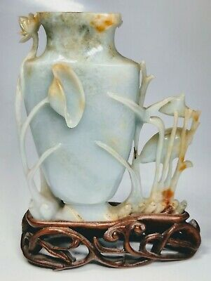 Antique 1920s Chinese Hand-Carved Urn with Custom Wood Stand
