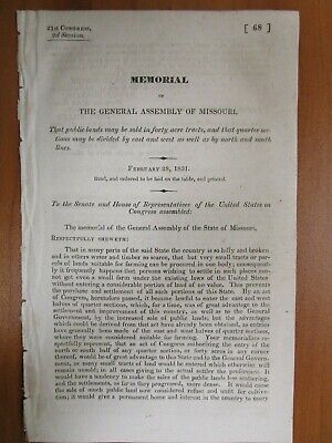 Government Report 2/28/1831 East West North South Land Divided US Farming Timber