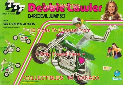 """DEBBIE LAWLER 1975 Daredevil MOTORCYCLE Knievel -ish =POSTER 10 Sizes 18""""-5.5 FT"""