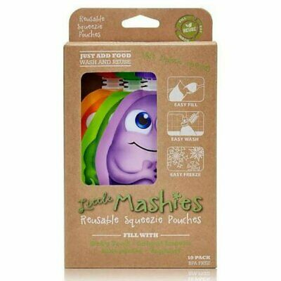 Little Mashies Reusable Squeeze Pouch Pack of 10 Mixed Colours