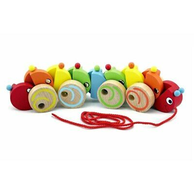 NEW VIGA Pull Along Rainbow Caterpillar Wooden Toy from Baby Barn Discounts