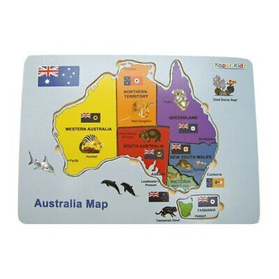 NEW Wooden Australia Map Puzzle from Baby Barn Discounts