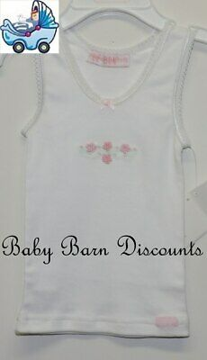 Le Bon - White Singlet with Pink Flowers - Size 4 x 0's