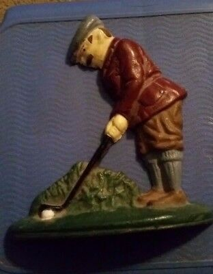 """Vintage Antique Golfer Door Stop Or Bookend Playing Golf Heavy Cast Iron 7.5"""""""
