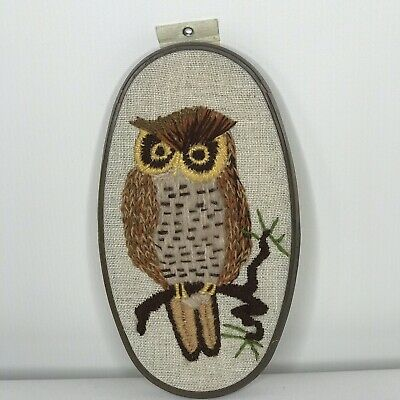 Framed Finished Crewel Embroidery Mid century Modern Owl Wall Art