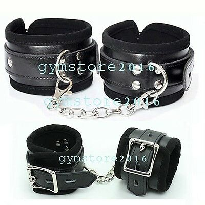 Soft PU Leather Handcuffs Ankle Cuffs Restraint Lockable Buckle Couples Game Toy
