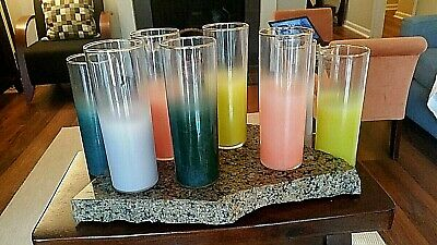 Mid Century Vintage Set 8 Tall Cocktail Glasses Frosted Barware Colors Gold Rim