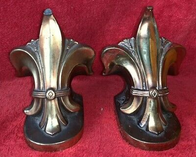 Pair Of Vintage Cast Metal Brass? FLEUR DE LIS Book Ends Collectibles
